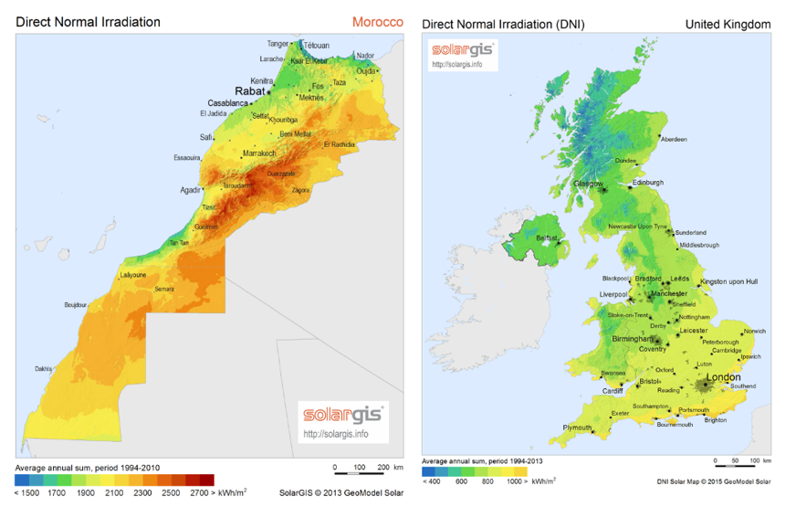 Figure 2: comparing Moroccan and UK annual irradiation levels