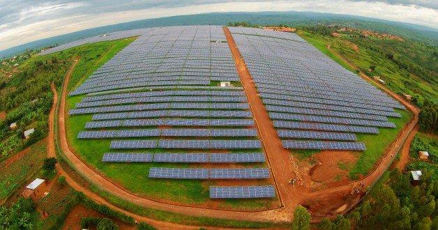 PV panels in Rwanda solar power plant
