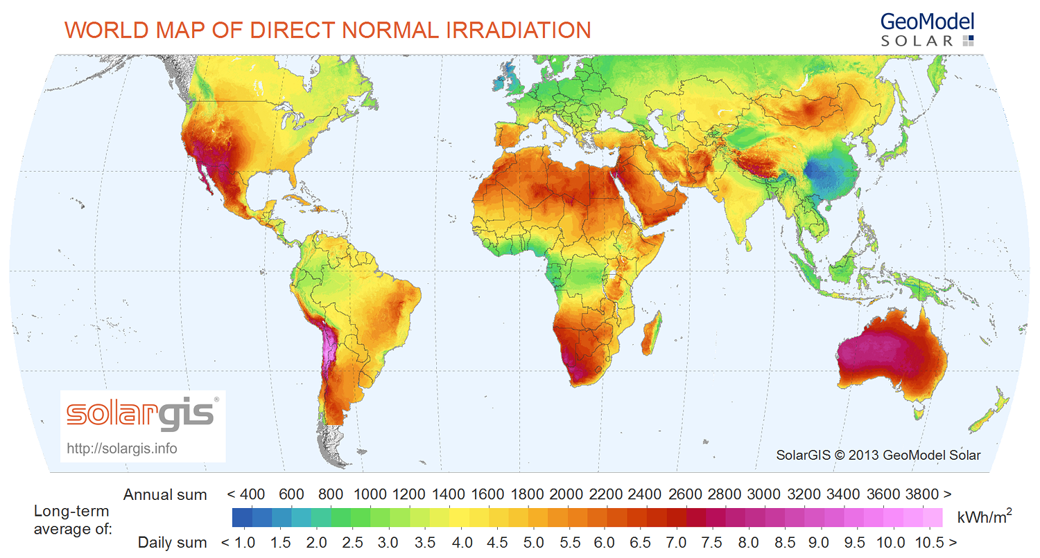 World map of Direct Normal Irradiation